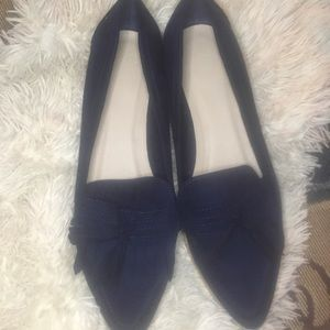 🌹ASOS Gorgeous Navy Blue Leather Flat Shoes😍
